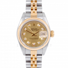 Rolex Datejust 69173 Custom Champagne Diamond Dial 18k Yellow Gold & Stainless Steel - Fluted Bezel On A Jubilee Band - Pre-Owned