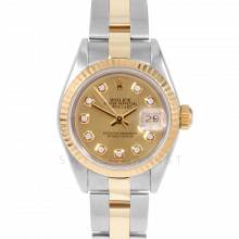 Rolex Datejust 69173 Custom Champagne Diamond Dial 18k Yellow Gold & Stainless Steel - Fluted Bezel On A Oyster Band - Pre-Owned