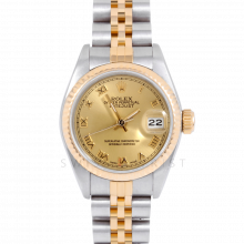 Rolex Datejust 69173 Champagne Roman Dial 18k Yellow Gold & Stainless Steel - Fluted Bezel On A Jubilee Band - Pre-Owned