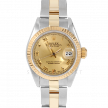 Rolex Datejust 69173 Champagne Roman Dial 18k Yellow Gold & Stainless Steel - Fluted Bezel On A Oyster Band - Pre-Owned