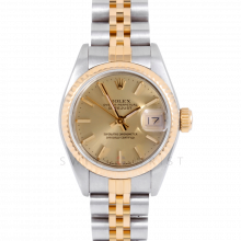 Rolex Datejust 69173 Champagne Stick Dial 18k Yellow Gold & Stainless Steel - Fluted Bezel On A Jubilee Band - Pre-Owned