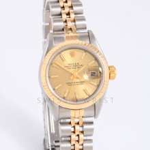 Rolex 69173 Ladies Datejust 26mm Yellow Gold & Stainless Steel w/ Champagne Stick Dial & Fluted Bezel on Jubilee Bracelet - Pre-Owned with Box & Papers