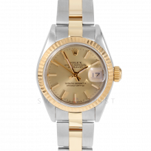 Rolex Datejust 69173 Champagne Stick Dial 18k Yellow Gold & Stainless Steel - Fluted Bezel On A Oyster Band - Pre-Owned