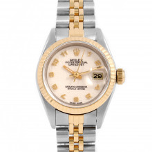 Rolex 69173 Ladies Datejust 26mm Yellow Gold & Stainless Steel w/ Ivory Jubilee Arabic Dial & Fluted Bezel with Jubilee Bracelet - Pre-Owned