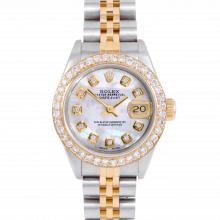 Rolex Datejust 69173 Custom Mother of Pearl Diamond Dial 18k Yellow Gold & Stainless Steel - 1CT VS Diamond Bezel On A Jubilee Band - Pre-Owned