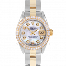 Rolex Datejust 69173 Custom Mother of Pearl Diamond Dial 18k Yellow Gold & Stainless Steel -1CT VS Diamond Bezel On A Oyster Band - Pre-Owned