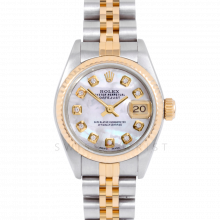 Rolex Datejust 69173 Custom Mother of Pearl Diamond Dial 18k Yellow Gold & Stainless Steel - Fluted Bezel On A Jubilee Band - Pre-Owned