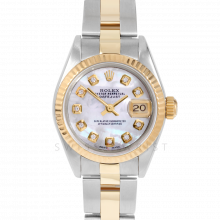 Rolex Datejust 69173 Custom Mother of Pearl Diamond Dial 18k Yellow Gold & Stainless Steel - Fluted Bezel On A Oyster Band - Pre-Owned