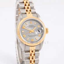 Rolex Datejust 26 mm 69173 Ladies Yellow Gold & Stainless Steel, Slate Arabic Stick Dial w/ Fluted Bezel on a Jubilee Bracelet - Pre-Owned Watch