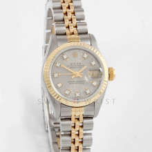 Rolex Datejust 26 mm 69173 Yellow Gold & Stainless Steel w/ Slate Diamond Dial & Fluted Bezel with Jubilee Bracelet - Ladies Pre-Owned Watch w/ Box & Papers