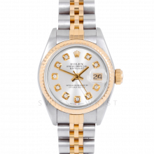 Rolex Datejust 69173 Custom Silver Diamond Dial 18k Yellow Gold & Stainless Steel - Fluted Bezel On A Jubilee Band - Pre-Owned