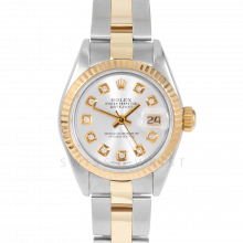 Rolex Datejust 69173 Custom Silver Diamond Dial 18k Yellow Gold & Stainless Steel - Fluted Bezel On A Oyster Band - Pre-Owned