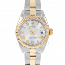 Rolex Datejust 69173 Silver Roman Dial 18k Yellow Gold & Stainless Steel - Fluted Bezel On A Oyster Band - Pre-Owned