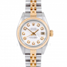 Rolex Datejust 69173 Custom White Diamond Dial 18k Yellow Gold & Stainless Steel - Fluted Bezel On A Jubilee Band - Pre-Owned