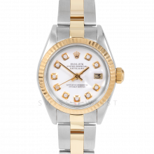 Rolex Datejust 69173 Custom White Diamond Dial 18k Yellow Gold & Stainless Steel - Fluted Bezel On A Oyster Band - Pre-Owned