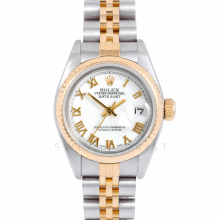 Rolex Datejust 69173 White Roman Dial 18k Yellow Gold & Stainless Steel - Fluted Bezel On A Jubilee Band - Ladies Pre-Owned Watch