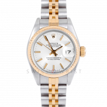 Rolex Datejust 26 69173 White Stick Dial Yellow Gold & Stainless Steel, Fluted Bezel On A Jubilee Bracelet - Pre-Owned Ladies Watch
