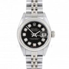Rolex Datejust 69174 Custom Black Diamond Dial - Stainless Steel - White Gold Fluted Bezel On A Jubilee Band - Pre-Owned