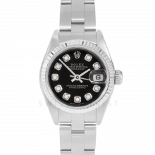Rolex Datejust 69174 Custom Black Diamond Dial - Stainless Steel - White Gold Fluted Bezel On A Oyster Band - Pre-Owned