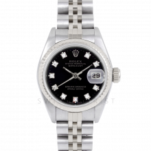 Rolex Datejust 69174 Factory Black Diamond Dial - Stainless Steel - White Gold Fluted Bezel On A Jubilee Band - Pre-Owned