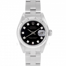 Rolex Datejust 69174 Factory Black Diamond Dial - Stainless Steel - White Gold Fluted Bezel On A Oyster Band - Pre-Owned