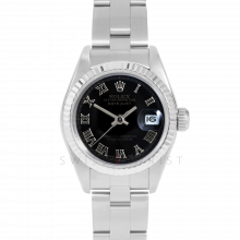 Rolex Datejust 69174 Black Roman Dial - Stainless Steel - White Gold Fluted Bezel On A Oyster Band - Pre-Owned