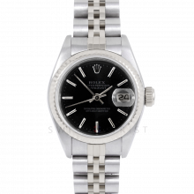 Rolex Datejust 69174 Black Stick Dial - Stainless Steel - White Gold Fluted Bezel On A Jubilee Band - Pre-Owned