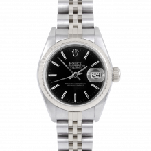 Rolex Datejust 26 69174 White Gold & Stainless Steel, Black Stick, Fluted Bezel On A Jubilee Bracelet - Ladies Pre-Owned Watch