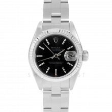 Rolex Datejust 69174 Black Stick Dial - Stainless Steel - White Gold Fluted Bezel On A Oyster Band - Pre-Owned