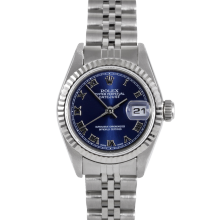 Rolex Datejust 6917 Blue Roman Dial - Stainless Steel - White Gold Fluted Bezel On A Jubilee Band - Pre-Owned