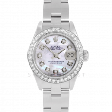 Rolex Datejust 26 69160 Stainless Steel, Mother of Pearl Diamond Dial & Bezel On An Oyster Bracelet - Ladies Pre-Owned Watch