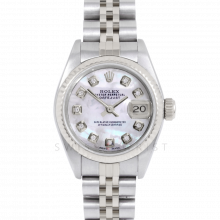 Rolex Datejust 69174 Custom Mother of Pearl Diamond Dial - Stainless Steel - White Gold Fluted Bezel On A Jubilee Band - Pre-Owned