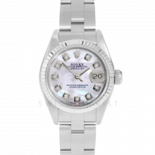 Rolex Datejust 69174 Custom Mother of Pearl Diamond Dial Stainless Steel & White Gold Fluted Bezel On A Oyster Band - Pre-Owned