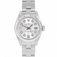 Rolex Datejust 69174 Custom Silver Diamond Dial - Stainless Steel - White Gold Fluted Bezel On A Oyster Band - Pre-Owned