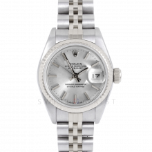 Rolex Datejust 69174 Silver Stick Dial - Stainless Steel - White Gold Fluted Bezel On A Jubilee Band - Pre-Owned