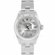 Rolex Datejust 69174 Silver Stick Dial - Stainless Steel - White Gold Fluted Bezel On A Oyster Band - Pre-Owned