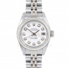 Rolex Datejust 69174 Custom White Diamond Dial - Stainless Steel - White Gold Fluted Bezel On A Jubilee Band - Pre-Owned