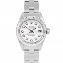 Rolex Datejust 69174 Custom White Diamond Dial - Stainless Steel - White Gold Fluted Bezel On A Oyster Band - Pre-Owned