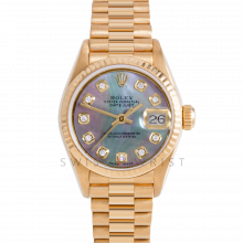 Rolex President 69178 Custom Black Mother of Pearl Diamond Dial - 18k Yellow Gold - Fluted Bezel On A President Bracelet - Ladies Pre-Owned Watch