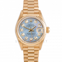 Rolex President 69178 Custom Blue Mother of Pearl Diamond Dial - 18k Yellow Gold - Fluted Bezel On A President Bracelet - Ladies Pre-Owned Watch
