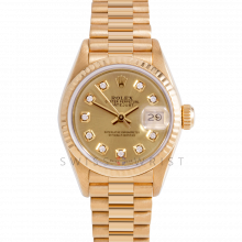 Rolex President 69178 Custom Champagne Diamond Dial - 18k Yellow Gold - Fluted Bezel On A President Bracelet - Ladies Pre-Owned Watch