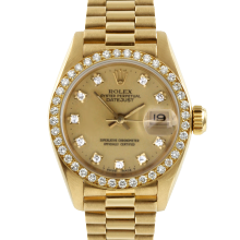 Pre-owned Rolex Ladies 18K Yellow Gold President Watch - 69178 Factory Champagne Diamond Dial with Factory Bead Set Diamond Bezel