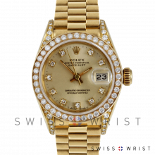 Used Rolex Ladies 18K Yellow Gold President Watch - 69158 Factory Champagne Diamond Dial with Rolex Factory Diamond Bezel & Lugs