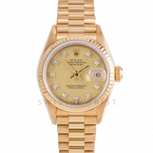 Rolex President 69178 Factory Champagne Diamond Dial 18k Yellow Gold - Fluted Bezel On A President Bracelet - Ladies Pre-Owned Watch