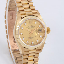 Rolex Datejust President 26mm 69178 Yellow Gold w/ Champagne Diamond Dial & Fluted Bezel with Presidential Bracelet - Ladies Pre-Owned Watch w/ Box & Papers