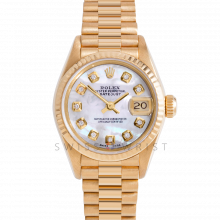 Rolex President 69178 Custom White Mother of Pearl Diamond Dial - 18k Yellow Gold - Fluted Bezel On A President Bracelet - Ladies Pre-Owned Watch