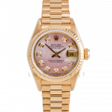 Rolex President 69178 Custom Pink Mother of Pearl Diamond Dial - 18k Yellow Gold - Fluted Bezel On A President Bracelet - Ladies Pre-Owned Watch