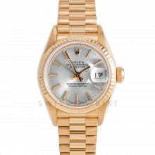Rolex President 69178 Silver Stick Dial - 18k Yellow Gold - Fluted Bezel On A President Bracelet - Pre-Owned