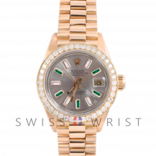 Rolex President 6917 Custom Silver Alternating Diamond and Emerald Baguette Dial - Yellow Gold - Diamond Bezel On A President Bracelet - Pre-Owned