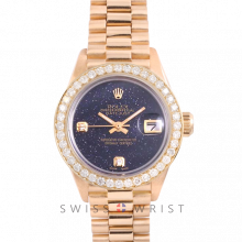 Rolex President 6917 Custom Blue Aventurine 2 Stone Diamond Dial - Yellow Gold - Diamond Bezel On A President Bracelet - Pre-Owned